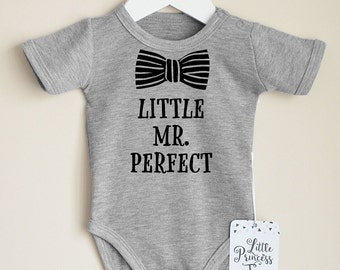 Funny Baby Boy Clothes. Little Mr. Perfect Baby Romper. Baby Boy Outfit. Infant Boy Clothing. Hipster Boy Shirt. Choose Your Color.