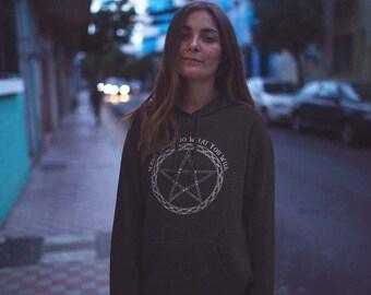 Hooded sweatshirt Harm None Neo-Pagan Pentacle Sacred Geometry Printed hoodie jumper