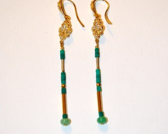 Gold plated and micro Turquoise earrings