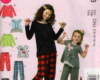 Free Us Ship McCall's 6596 Girls Top Pants  Sewing Pattern Size 7 8 10 12 14 New Uncut Out of Print