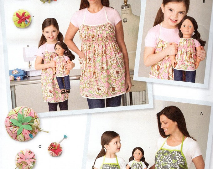 """Simplicity 1554 Free Us Ship Craft Sewing Pattern Studio Cherie Matching Mother Daughter Doll Aprons Uncut New 18"""" American Girl Pin Cushion"""