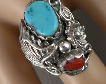 Navajo Sterling Turquoise Ring, Vintage Harrison Yazzie Sterling Silver Turquoise And Coral Ring, Yazzie Navajo Silver Ring