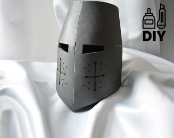 Medieval knight etsy for Paper knight helmet template