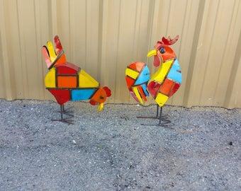 Rustic metal chickens. Metal chickens. rustic chickens. colorful metal chickens. chicken decor.