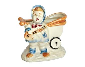 Planter Singing Girl with Banjo Pram Vintage Made in Japan Ceramic Art Pottery