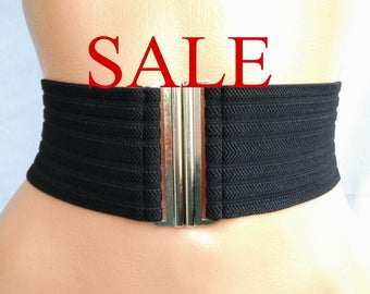 SALE Women's Elastic Black belt Wide Stretch Waist cincher belt Very wide Black Silver simple belt elastic cinch
