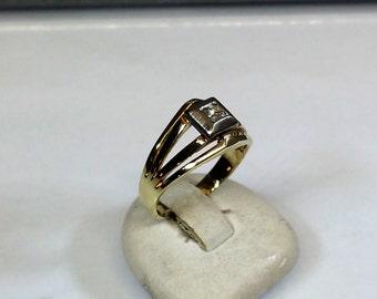 Ring yellow gold white gold 585 diamond vintage GR225