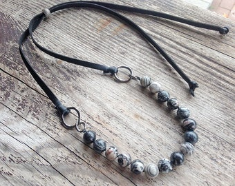 Knotted necklace black gray necklace adjustable beaded choker leather gun metal gemstone choker necklace for women gift for her inspiration