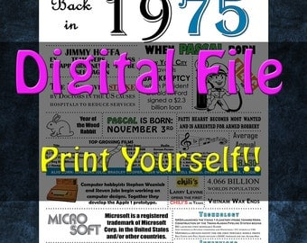 1975 Personalized Birthday Poster, 1975 History - DIGITAL FILE!!