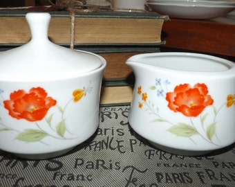 Vintage (c.1980s) Hearthside | Fine China of Japan Poppy Garden Cream and Covered Sugar Bowl. Orange and blue flowers.