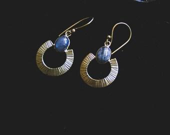 Labradorite BlueFire Earrings - Bronze Metal - Gems - Ethnic - Tribal - Chic - Design - Madagascar - Stone