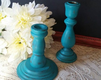 Aqua Candle Holders; Vintage Candle Holders; Aqua Painted Candle Holders; Shabby Chic Candle Holders