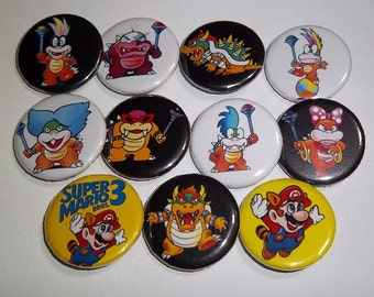 Super Mario Bros. 3 Pinback Buttons Set of 11, Mario, King Koopa Bowser, Iggy, Morton, Lemmy, Ludwig, Roy, Larry, Wendy, Koopalings