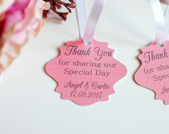 Wedding thank you tags, pearlised wedding tags, thank you for sharing our special day tags, wedding favor tags, pearlised pink