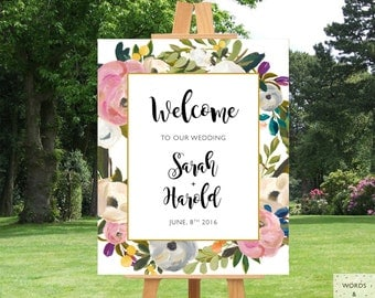 Printable Wedding Signs, Welcome To Our Wedding Sign, Wedding Ceremony Sign, Wedding Signage, Custom Wedding Signs, Rustic Wedding Decor