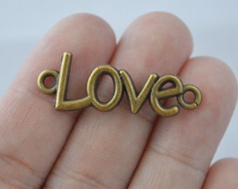 8 Pcs Love Charms Love Connector Word Charms Antique Bronze Tone 35x12mm- YD035