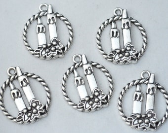 4 Pcs Candle Charms Antique Silver Tone 33x29mm - YD0525