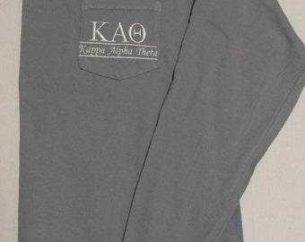 Kappa Alpha Theta, Theta, Sorority Shirts,Long Sleeve T Shirt, Sorority T Shirt, Pocket T Shirt, Monogrammed Pocket T, Personalized T Shirt