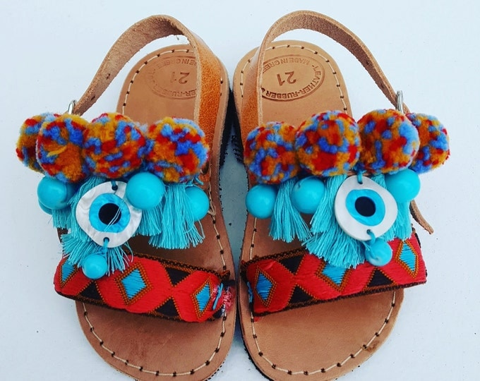 "Greek handmade sandals for little princess ""African Girl "" pompom sandals,boho,ethnic,girl sandals,baby shoes,evil eyes,kinds sandals"