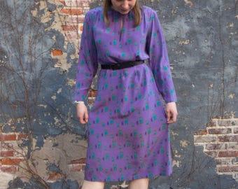 Vintage Soo Yung Lee Purple Silk Dress