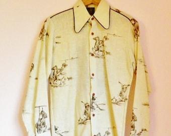 Vintage 70s Cowboys & Indians Western Shirt - Size L