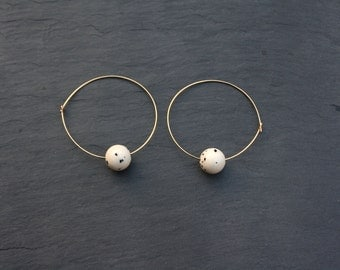 Gold hoop earrings | Large hoop with white dotted bead | Gold fill hoops | handmade contemporary design | 0.65mm thickness | 4cm wide