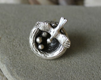 Bird Nest Ring, Bird Ring, Nest Ring, Boho Ring, Statement Ring, Antique Silver Ring, Ethnic Ring, Nature Ring, Tribal Ring, Mother Ring