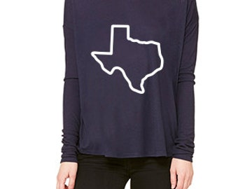 Texas Graphic Long Sleeve Shirt // Women's Navy with White Texas