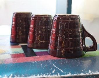 Set of 5 USA Marcrest Brown Drip Glaze Mugs