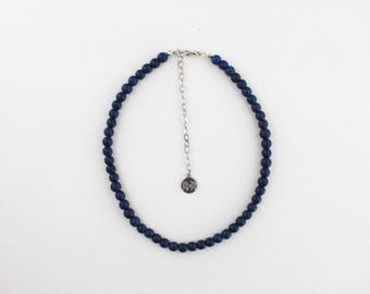 Beaded Choker - Midnight, Navy Blue