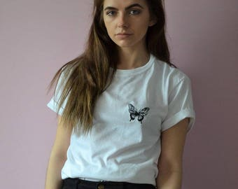 Embroidered monochrome butterfly White tee