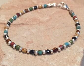 Multicolored bracelet, Czech glass bead bracelet, colorful bracelet, Hill Tribe silver bracelet, boho bracelet, gift for her, gift for wife