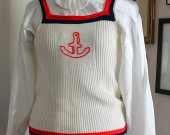 Vintage 1960's Anchor Knit Sweater // Midcentury // Tank-top // Acrylic Fibre // Nautical // Sailor // Fourth of July