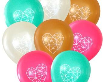 Geometric Heart Balloons Romantic - Pack of 8 | Himmeli Birthday Decorations Bridal Baby Shower | Boho Bohemian String Art Dream Catcher