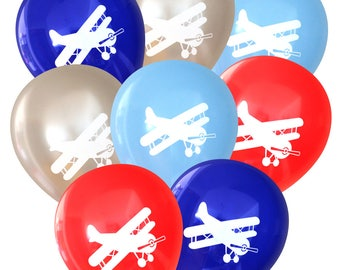 Biplane Airplane Party Balloons | Vintage Airplane, Antique Plane Birthday Party Decorations | Cute Baby Shower Decor | Travel Pilot Party