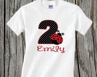 Personalized Ladybug Birthday Shirt Red Lady Bug Birthday Shirt