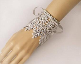 Wedding Glove Silver Lace with Rhinestone Fingerless Gloves, Rhinestone Bridal Gloves,Bridal Accessories, Prom Gloves-GL005