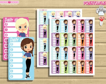 Chic Steps Tracker. Blonde and Brown hair Chics for your Side Bar. Erin condren and Happy planner.