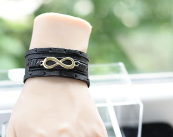 Infinity Leather Bracelet, Infinity Leather Cuff