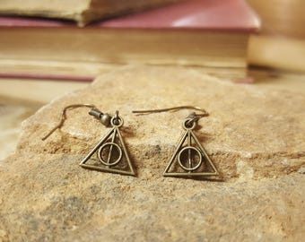 Free Shipping - Harry Potter Inspired Deathly Hallows Bronze Charm Earrings