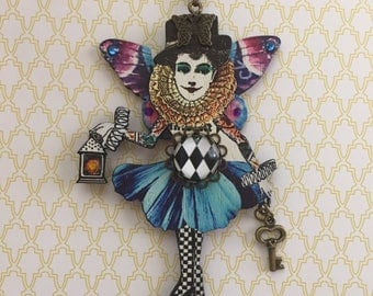 "Circus Follies Pendant ""Celeste Chauvette"", Circus Follies Jewelry,Circus Pendant Necklace, Wood Pendants,Flytomeshop,Fly To Me,Karen Minkel"