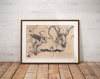 Medium - Wolpertinger - German Folklore Art Print