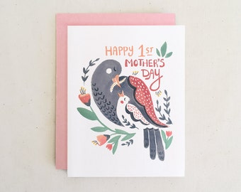 Happy First Mother's Day Card // Mama Bird Baby Bird Floral Folk Art Hand Drawn Painting Colorful Whimsical Pink Folded Card Paper Pony