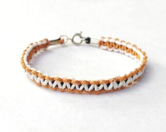 Two Tone Bracelet - Simple Bracelet, Boyfriend Gift, Thin Bracelet, Macrame Bracelet, Simple Jewelry, Simple Gifts, Macrame Jewelry