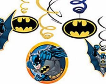 Batman  ''Gotham Hero'' Hanging Swirl Decorations 12ct