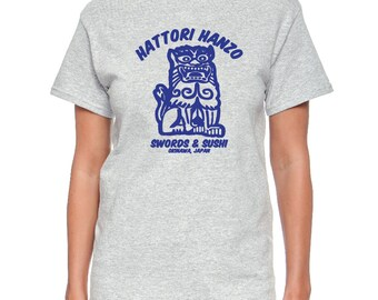 Hattori Hanzo Swords and Sushi - Okinawa, Japan on White, Black or Gray T-Shirt