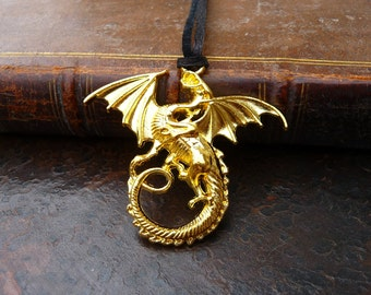 Gold Dragon Necklace - Pendant with Leather Cord - Game of Thrones - The Hobbit - Fantasy Jewelry - Smaug the Golden