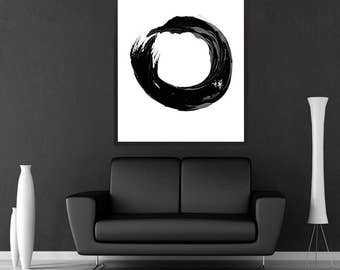 Japanese Art Print Enso Symbol Meditation Print Art Black and White Typographic Illustration Wall Art Oriental Printable Home Decor Poster