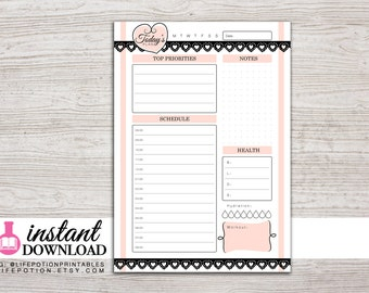A5 Planner Printable - Daily - with Schedule or To Do - Filofax A5 - Kikki K Large - Design: Mademoiselle