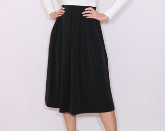 Midi skirt Black wool skirt with pockets Women skirt Chiffon skirt High waisted skirt